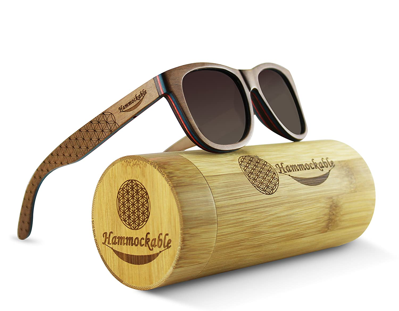 2ce6e95f68 Amazon.com: Hammockable 100% Natural Maple Wood Polarized Sunglasses (Dark  Maple, Brown): Clothing