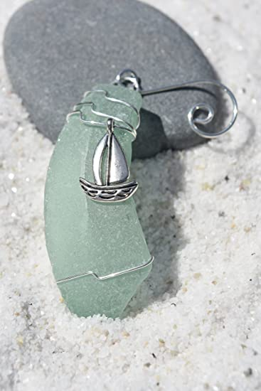 Sailboat on a Frosted Aqua Green Sea Glass Christmas Ornament
