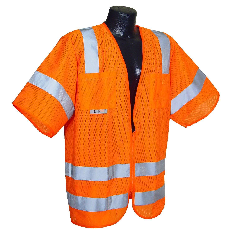 Radians SV83OMXL Class 3 Standard Mesh Safety Vest with Short Sleeves, X-Large, Orange
