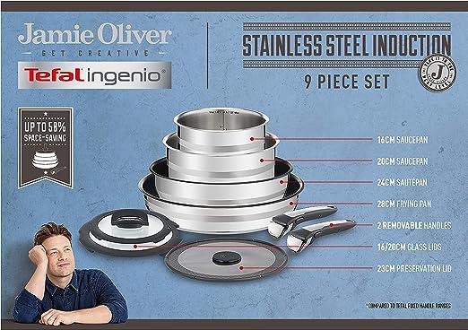 Tefal Ingenio Jamie Oliver L95691 Juego de ollas y sartenes, Acero ...
