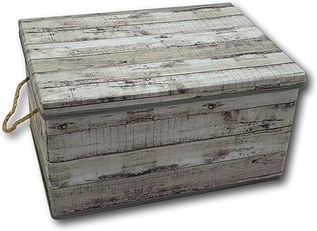 Urban Design Caja de almacenaje Caja Plegable con Tapa y Asa Cuerda de plástico en Madera Retro Look (Medium, Gris): Amazon.es: Hogar