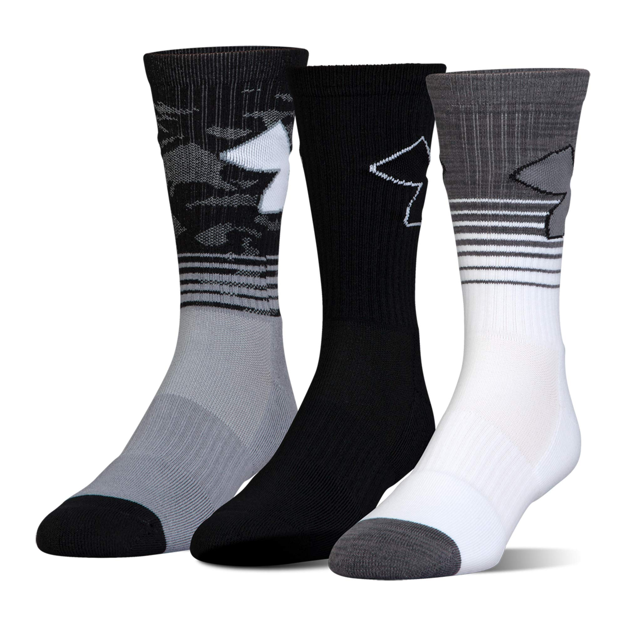 Boy's Under Armour Boys Phenom 2.0 Crew (3 Pack), Steel Grey, Youth Large by Under Armour