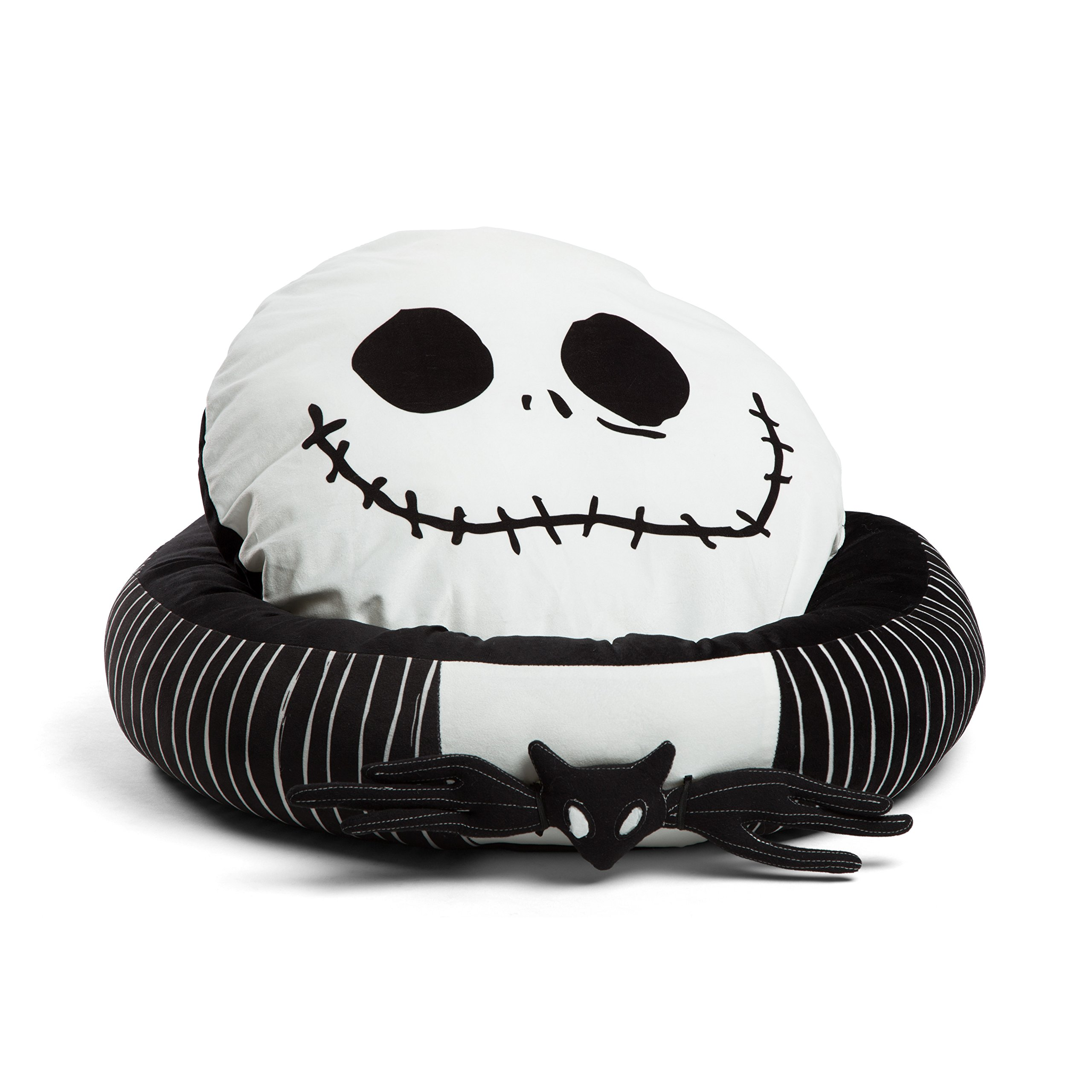 """Disney Nightmare Before Christmas Jack Skellington Bolstered Round Bumper Dog Bed/Cat Bed with Removable Toy Bat (Includes Squeaker), Reversible Insert, Dirt/Water Resistant Bottom, 24""""x24""""x7"""""""
