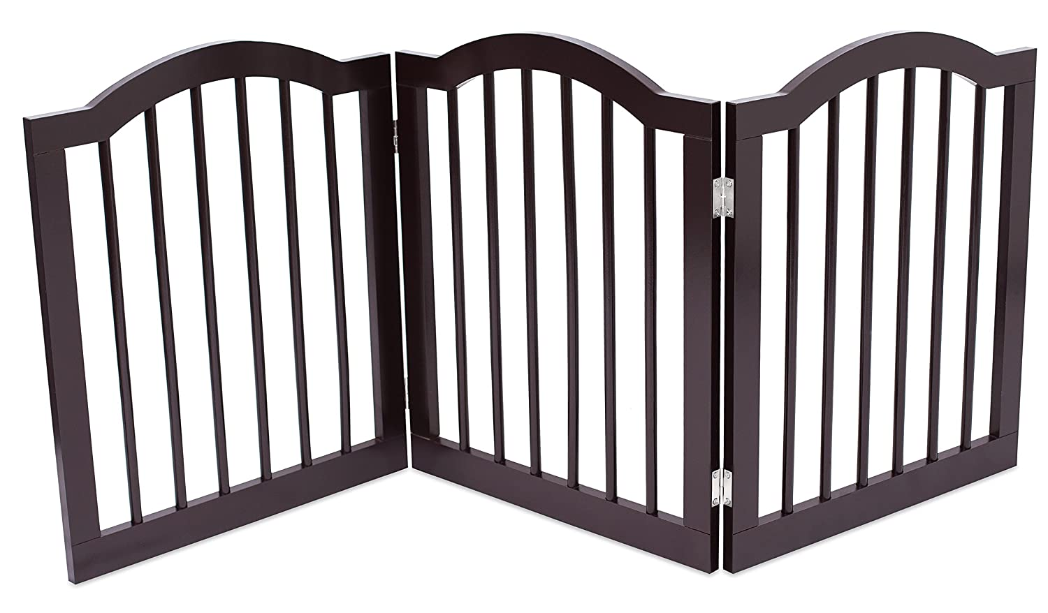 Internet's Best Pet Gate with Arched Top | 3 Panel | 24 Inch Step Over Fence | Free Standing Folding Z Shape Indoor Doorway Hall Stairs Dog Puppy Gate | Fully Assembled | Espresso | Wooden Internet' s Best