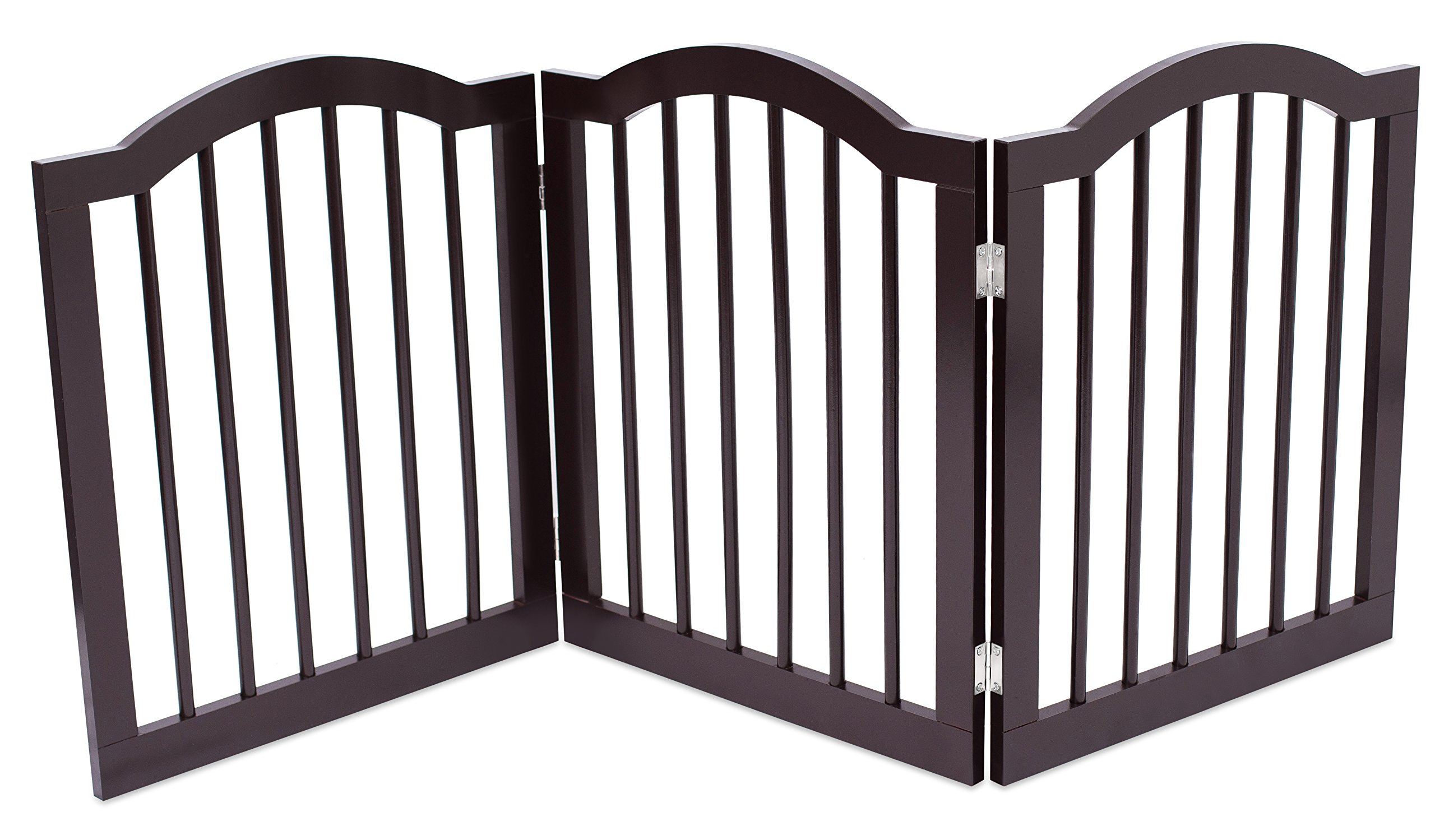 Internet's Best Pet Gate with Arched Top - 3 Panel - 24 Inch Step Over Fence - Free Standing Folding Z Shape Indoor Doorway Hall Stairs Dog Puppy Gate - Fully Assembled - Espresso - MDF by Internet's Best