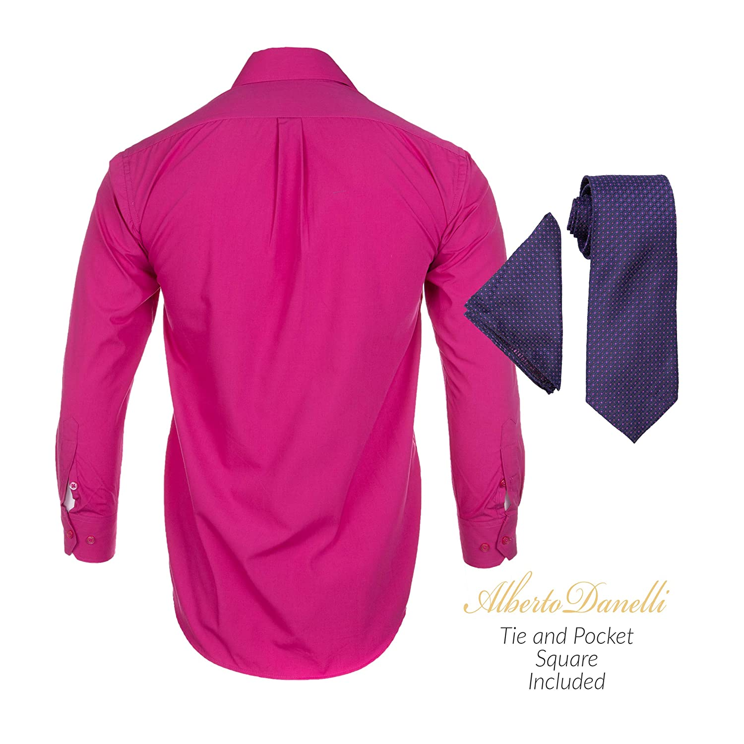 Alberto Danelli Mens Long Sleeve Dress Shirt with Matching Tie and Handkerchie Set