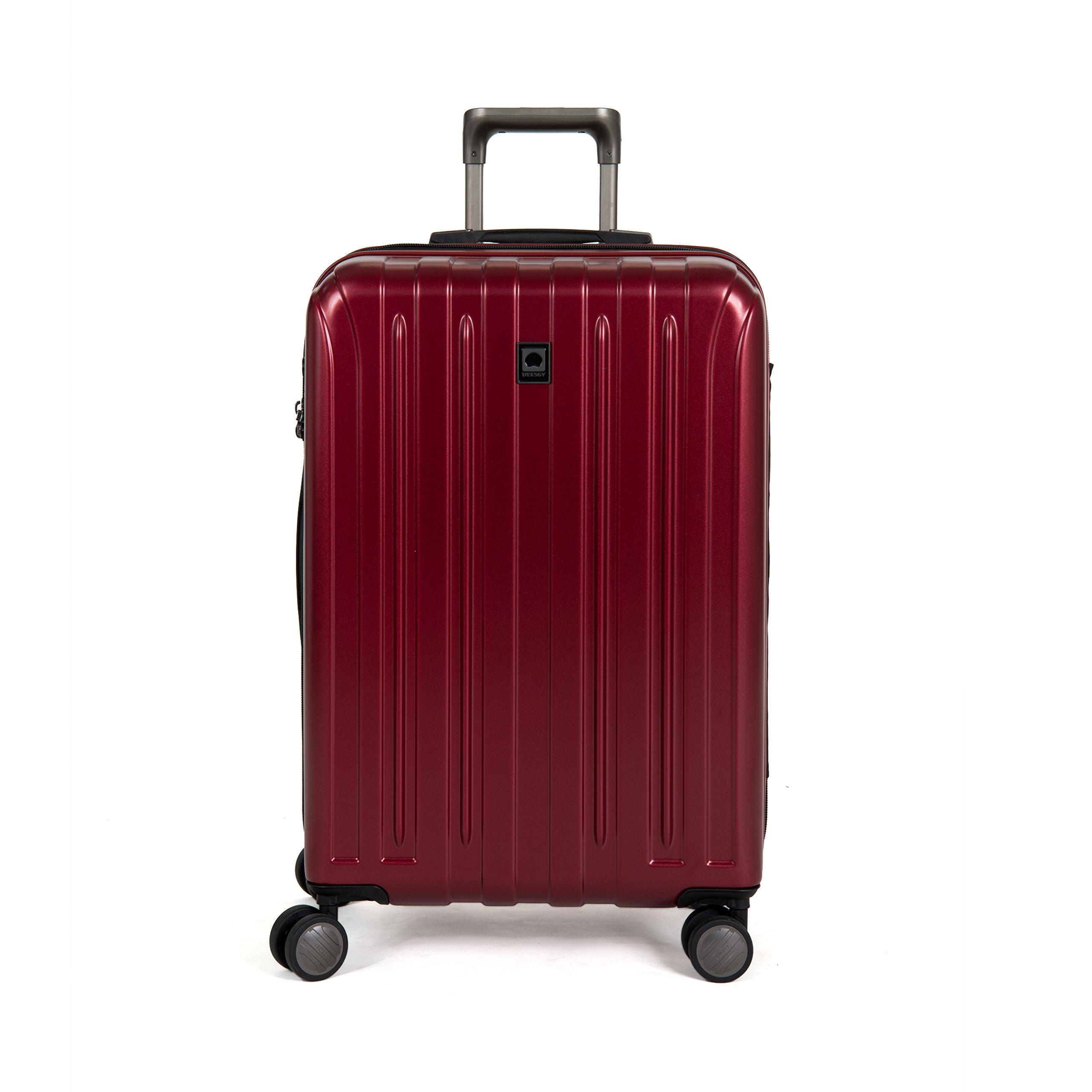 DELSEY Paris Luggage Helium Titanium 25'' Spinner Trolley Hard Case Suitcase, Black Cherry, One Size