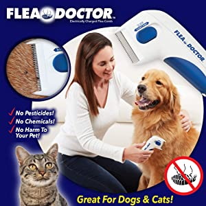 BulbHead As Seen On TV Flea Doctor Electronic Flea Comb Perfect for Dogs & Cats, Kills & Stuns Fleas