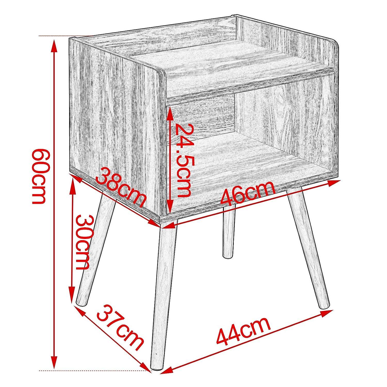 Ch/êne Clair TSR70hei-2 WOLTU Lot de 2 Table de Chevet avec Compartiment de Rangement Ouvert en Bois 46x38x60cm ch/êne Clair