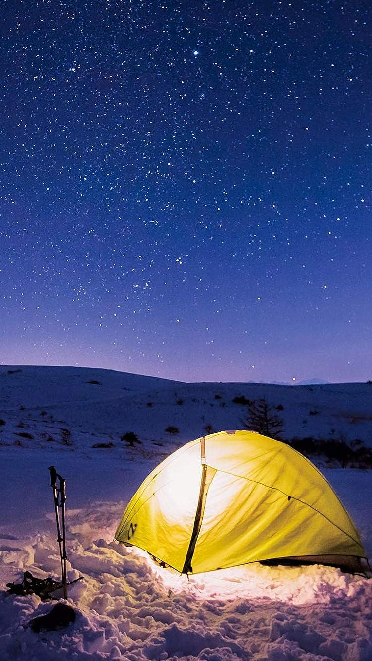 星空 Iphone Se 8 7 6s 750 1334 壁紙 真冬の星空を楽しむ雪原キャンプ その他 スマホ用画像