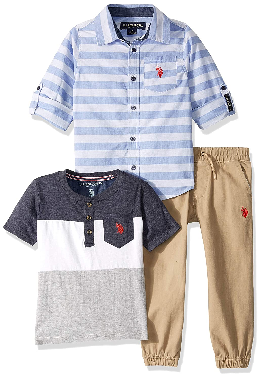 T-Shirt and Jogger Set U.S Polo Assn Boys Little Long Sleeve Sport