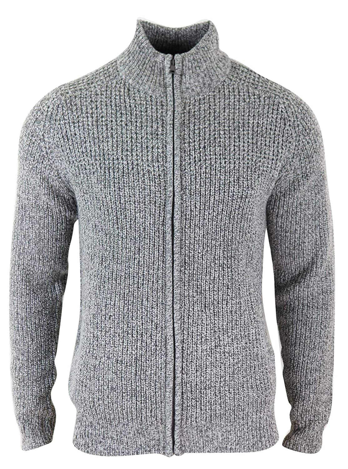 Mens Zipped Jumper Cardigan Knitted Chunky Smart Casual Regular Fit