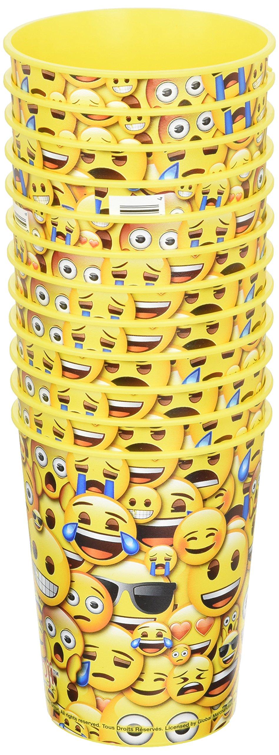 Emoji 16 oz Yellow Reusable Plastic Cup 12 Pieces by emoji