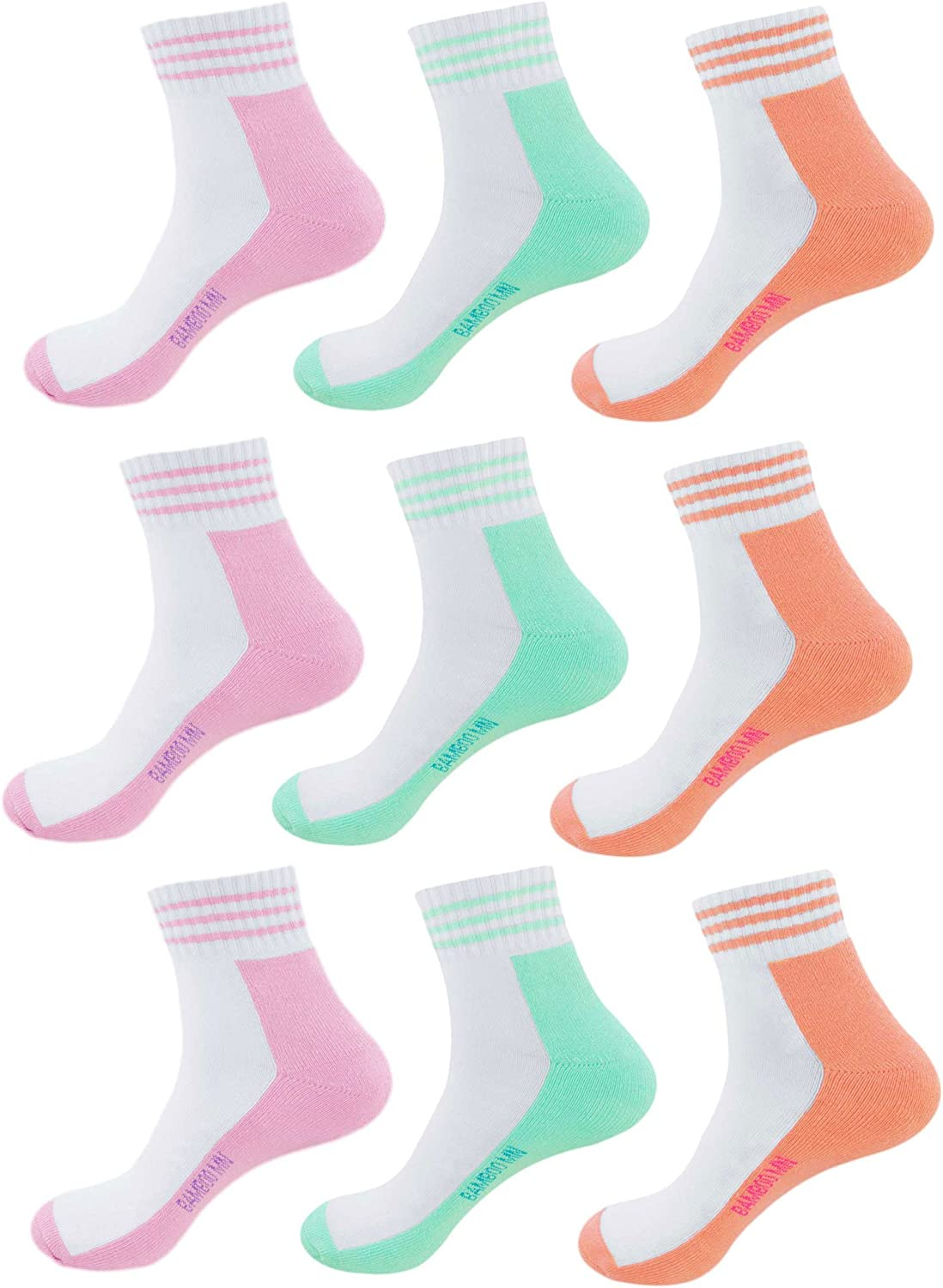 Womens Vintage Retro Bright Colored Cozy Cotton Comfy Moisture Wicking Classic Stylish Ankle Socks 9 Pair Value Pack