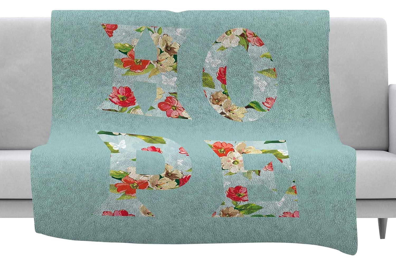 Kess InHouse Suzanne Carter Hope Green Floral Throw 60 x 40 Fleece Blankets