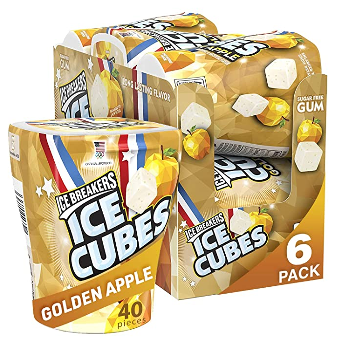 Ice Breakers Ice Cubes Chewing Gum, Sugar Free, Golden Apple Flavor, 6 Count, 40 Pieces (Pack of 6)