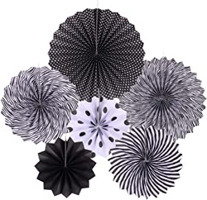 zilue Hanging Black Paper Fans Decoration Set for Wedding Birthday Party Graduation Round Events Accessories Set of 6