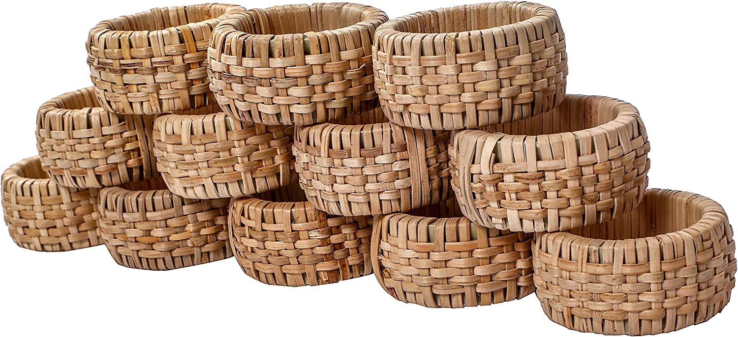 Alpha Living Home Napkin Rings Set of 12, Rattan Napkin Holders, Napkin Rings Bulk for Party Decoration, Dinning Table, Everyday, Family Gatherings - A Great Tabletop Décor - Natural