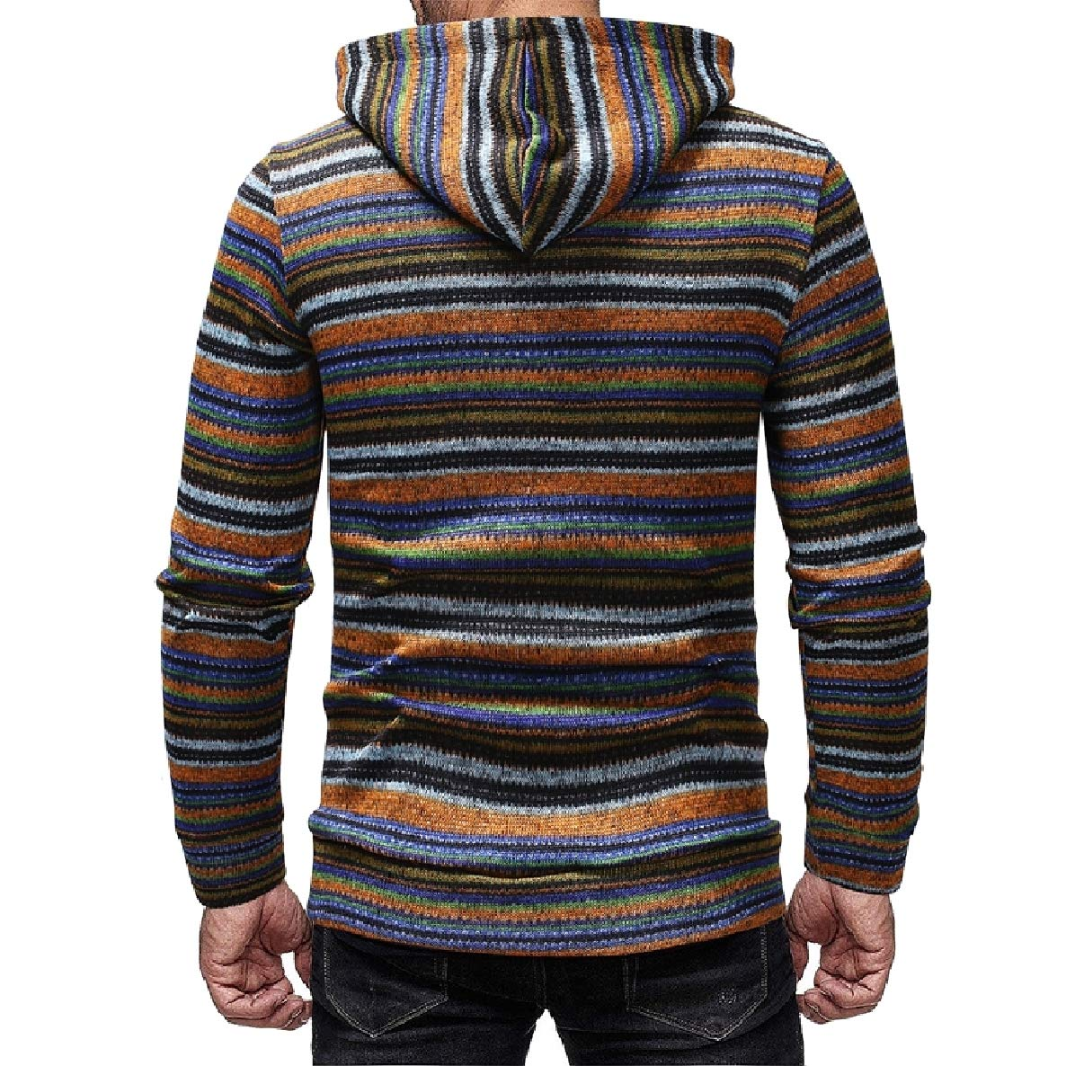 WillingStart Men Silm Thin Colortone Striped Plus Size Top Pullover Sweater