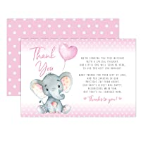 Pink Elephant Baby Shower Thank You Cards 20 Count Including Envelopes