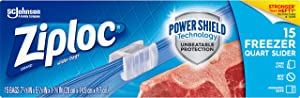 Ziploc Freezer Slider Bag with New Power Shield Technology, Expandable Bottom, Quart, 15 Count