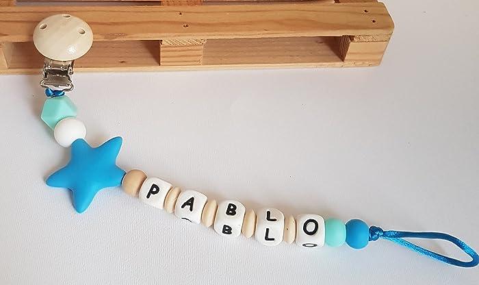 Sujetachupetes de silicona y madera personalizado con nombre ...