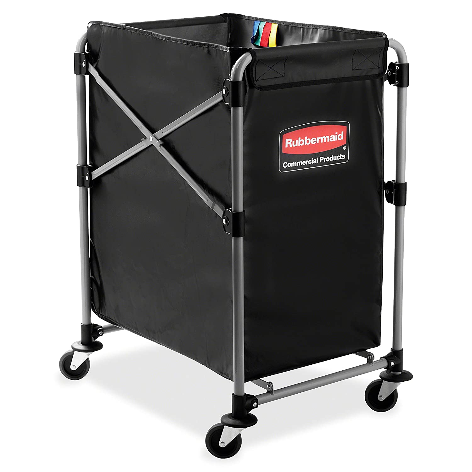 Rubbermaid Commercial Collapsible X-Cart, Steel, 4 Bushel Cart, 24 in L x20 in W x24 in H, Black (1881749)