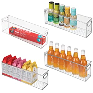 "mDesign Plastic Stackable Kitchen Pantry Cabinet, Refrigerator or Freezer Food Storage Bins with Handles - Organizer for Fruit, Yogurt, Snacks, Pasta - BPA Free, 16"" Long, 4 Pack - Clear"