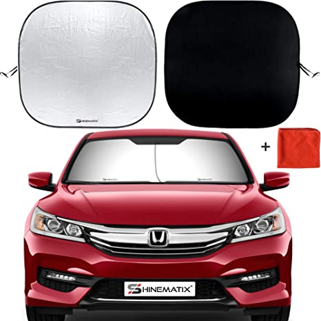Sunshades For Cars >> Shinematix 2 Piece Windshield Sun Shade Foldable Car Front Window Sunshades For Most Sedans Suv Truck Best 210t Reflective Material Blocks 99 Uv