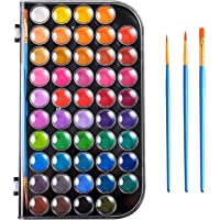 Upgraded 48 Colors Watercolor Paint, Washable Watercolor Paint Set with 3 Paint Brushes and Palette, Non-Toxic Water…