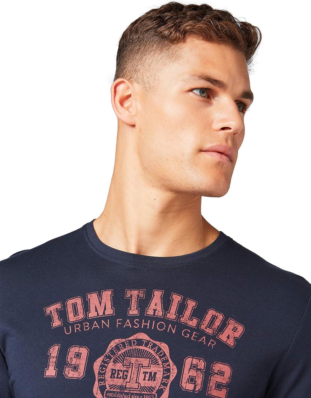 TOM TAILOR Herren T-Shirts//Tops Langarmshirt mit Print im Doppelpack
