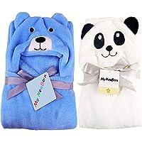 My NewBorn Ultra Soft Baby Blanket Wrappers Cum Bath Robe (Set of 2, White Panda/Sky Puppy)