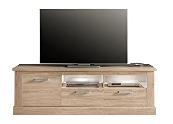 Trendteam Wohnzimmer Lowboard Fernsehschrank Fernsehtisch Montreal, 186 X  61 X 52 Cm In Eiche Sägerau