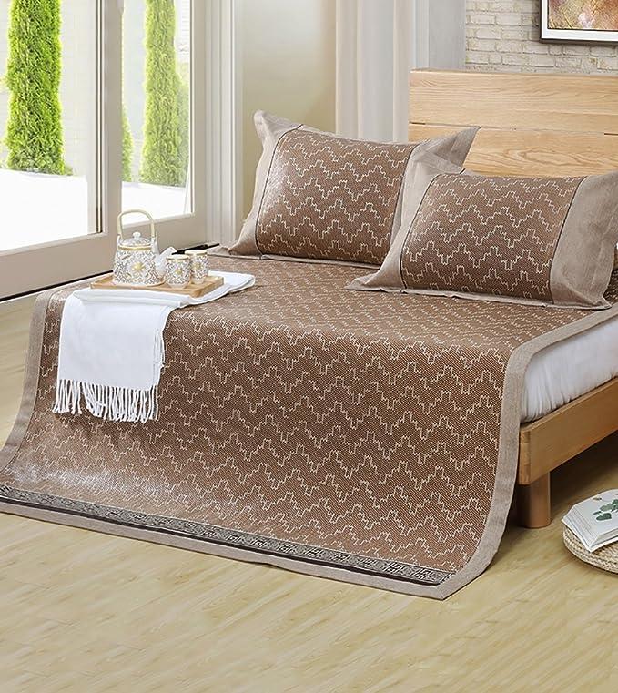 XIAOLIN-Tapis d'été Tapis de lit pliable Supercool Beddin Rattan Mats Matelas tissé utilisé pour l'été - Twin / Full / Queen / King Size Tapis de maison ( Couleur : B-1mat+2 pillowcas