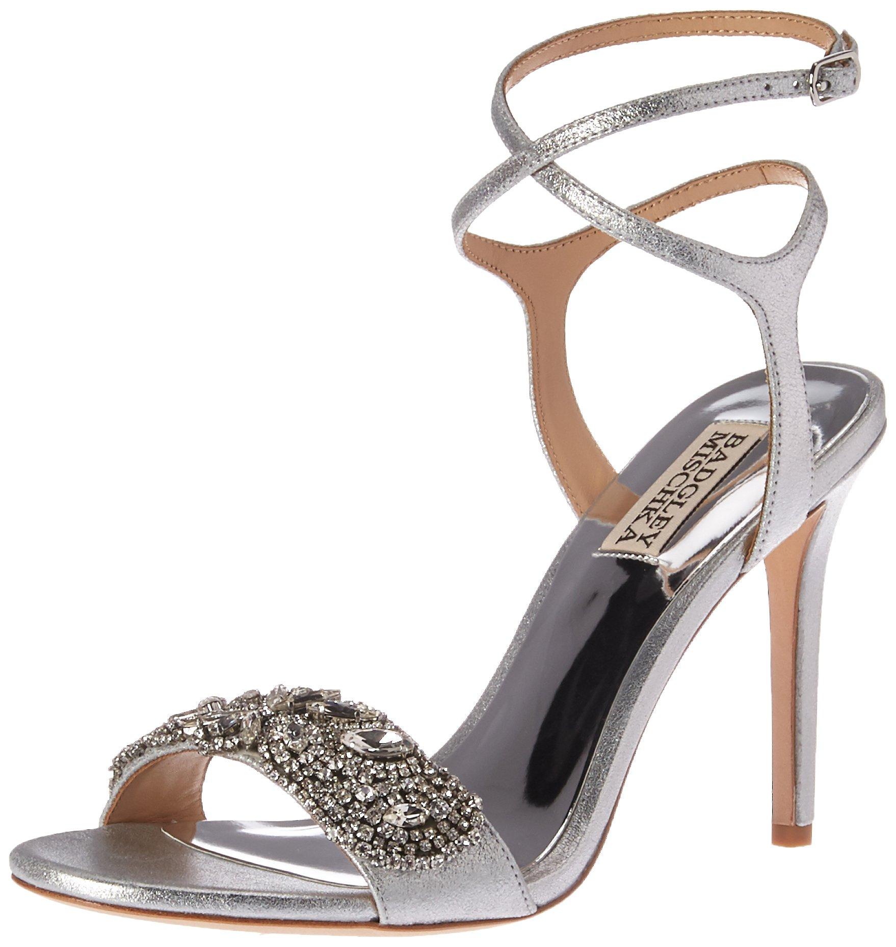 Badgley Mischka Women's Hailey Heeled Sandal, Silver, 10 M US