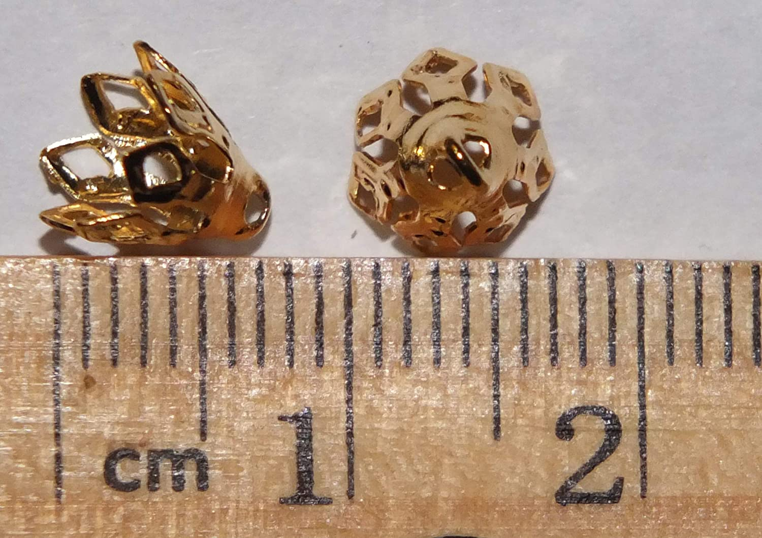 Filigree Bell Caps Pliable Prongs 7mm Loop for hanging Gold Plated Pack of 50