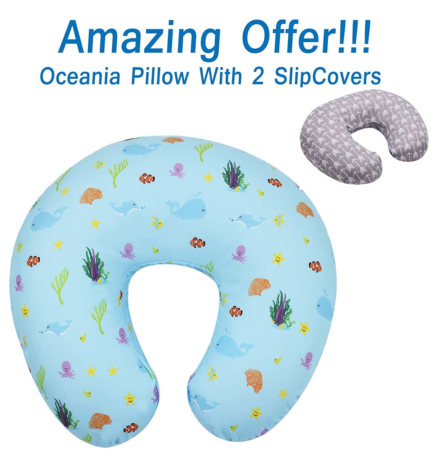 SALE - Dolphin Nursing Pillow and Positioner (With TWO Slipcovers), Positioning & Support For Breastfeeding Moms & Baby. A Perfect Present / Great Baby Shower Gift! MyTickles