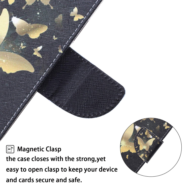 Uposao Kompatibel mit Samsung Galaxy J4 Plus 2018 Handyh/ülle Handytasche Retro Bunt Muster Schutzh/ülle Flip Case Brieftasche Klapph/ülle Wallet Leder H/ülle Cover Tasche Magnet,Gold Schmetterling
