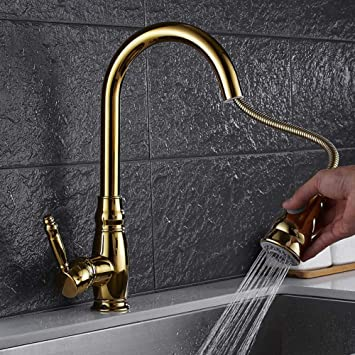 Tjjl Pull Out Kitchen Faucet Gold Chrome Nickel Black Crane Sink Mixer Tap 360 Degree Rotation Kitchen Mixer Taps Kitchen Tap Amazon Com