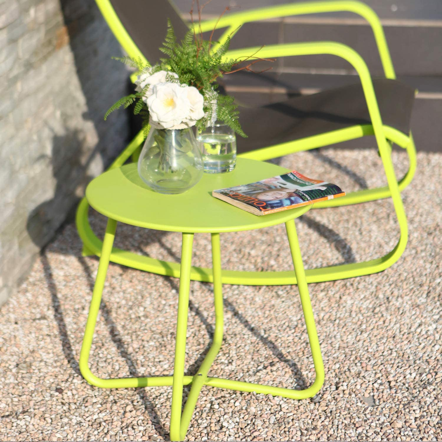 Grand patio Premium Indoor/Outdoor Round Metal Weather-Resistant Side/Accent Table for Patio, Yard, Balcony, Garden (Lime Green): Kitchen & Dining
