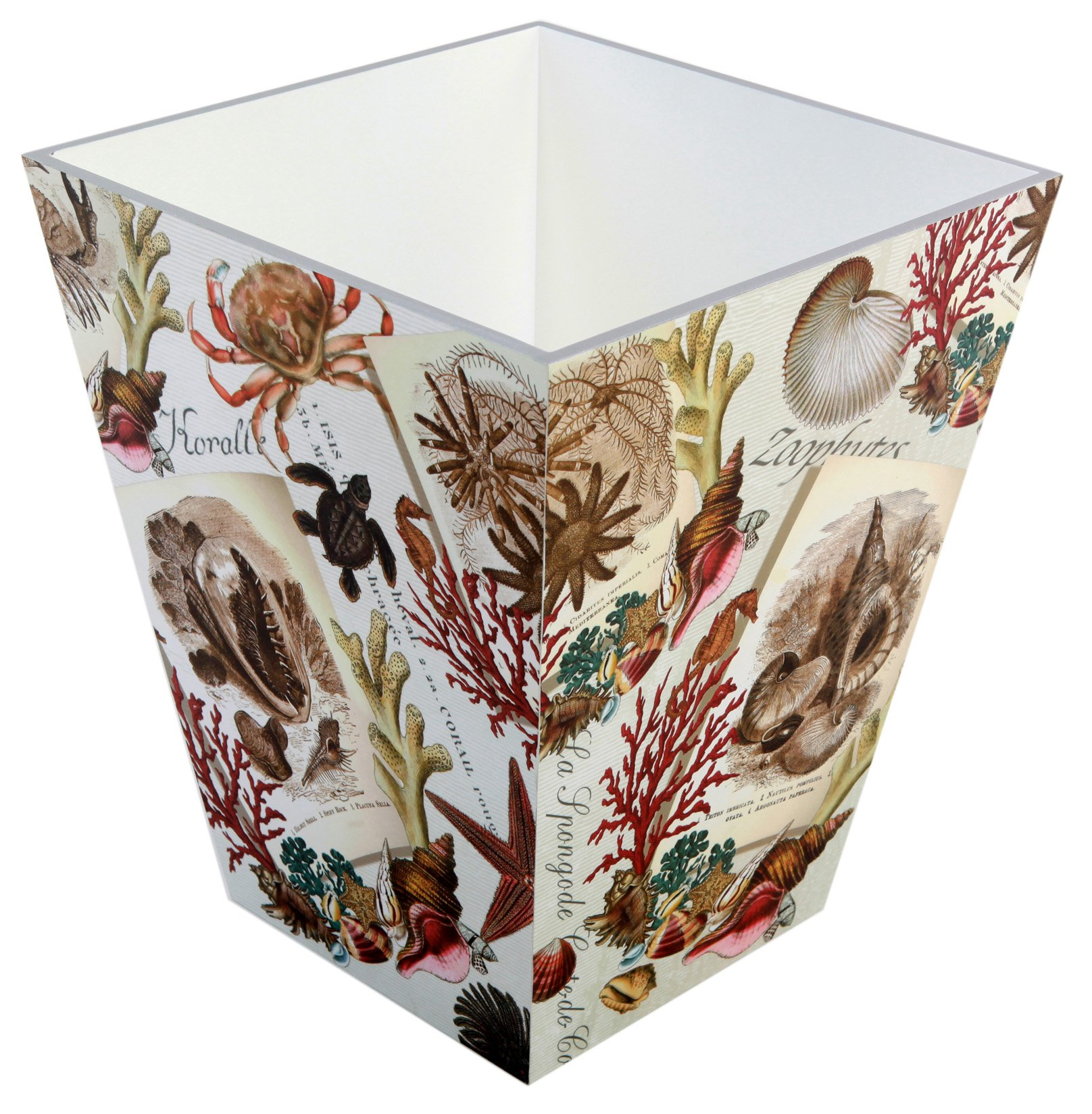 Decorative Wooden Waste Bin, Nautical Diary, White, Ocean, Coastal, Shells, Corals, Starfish, Bathroom Home Decor, Exclusively for TSC Giftables