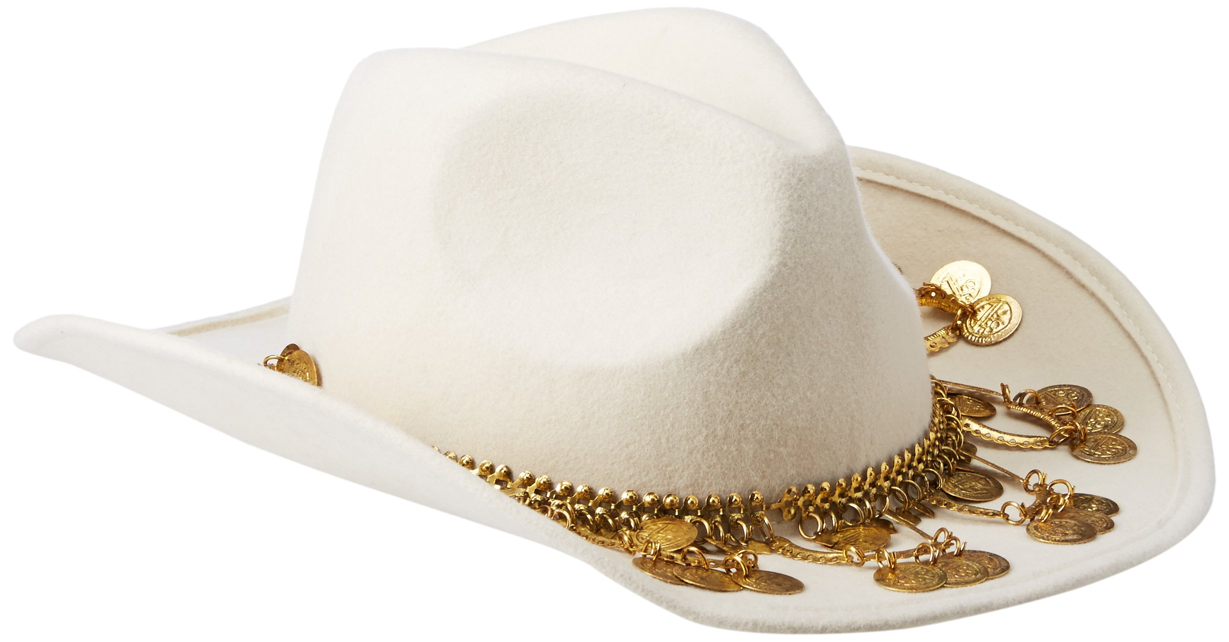 Gottex Women's Taj Felt Sun Hat with Exotic Chain Trim, Rated UPF 50+ for Max Sun Protection, White/Gold, One Size