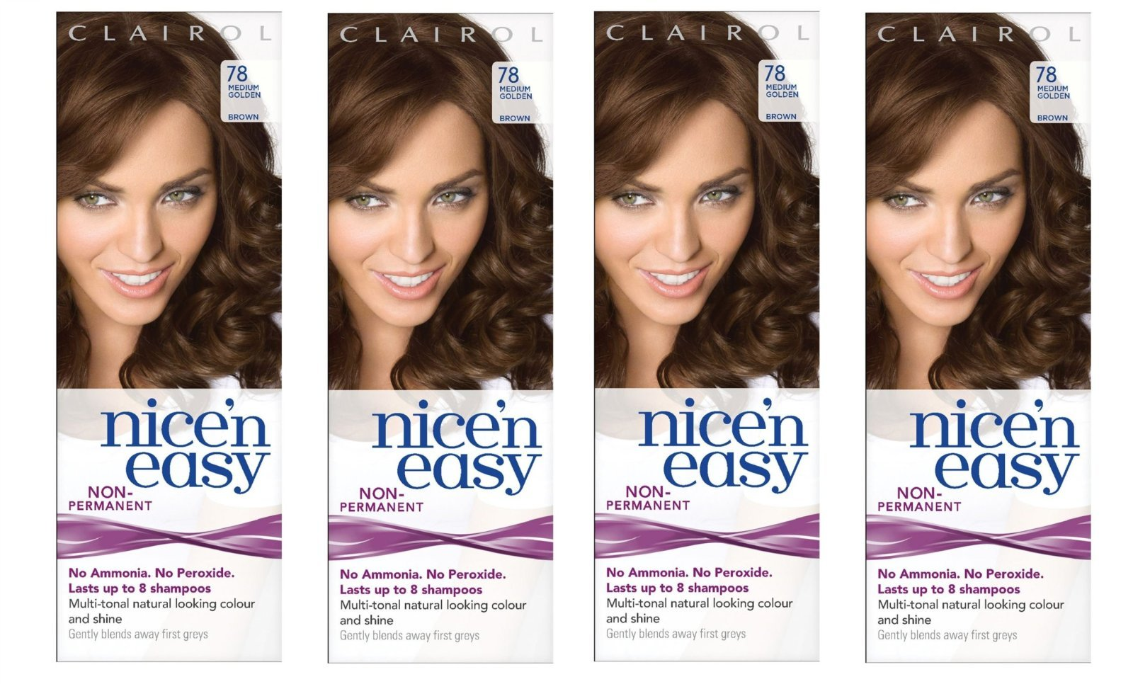 Clairol Nice n' Easy Hair Color #78 Medium Golden Brown (Pack of 4) UK Loving Care + FREE Old Spice Deadlock Spiking Glue, Travel Size.84 Oz