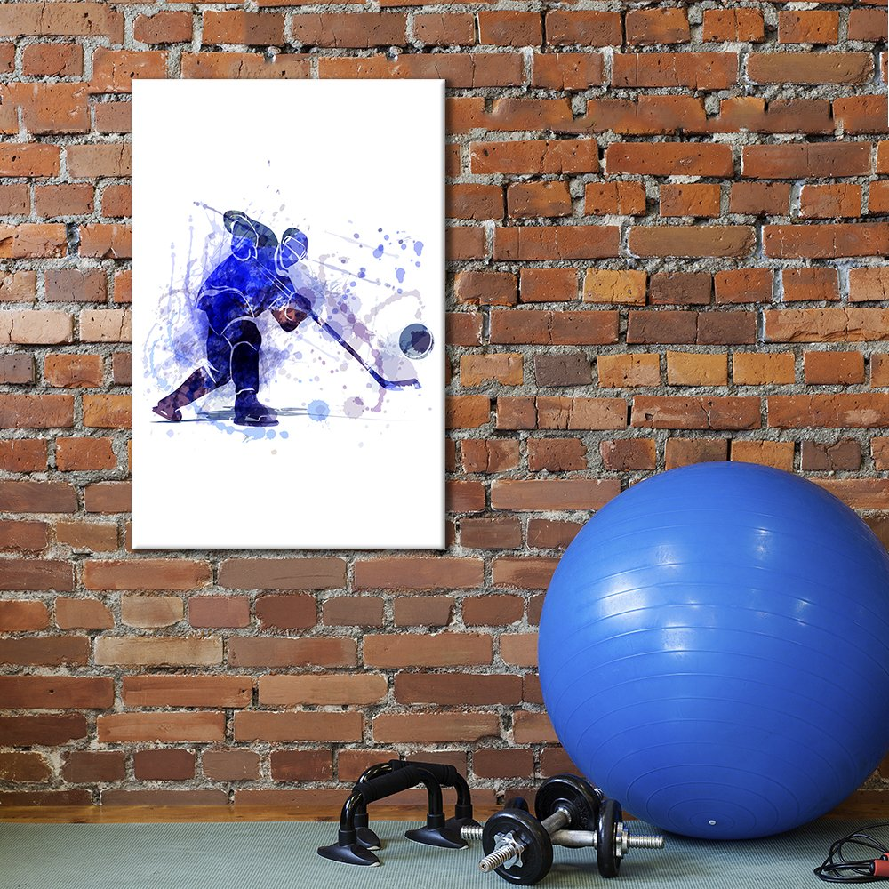 wall26 - Canvas Wall Art Sports Theme - Man Playing Hockey - Giclee Print Gallery Wrap Modern Home Decor Ready to Hang - 12x18 inches