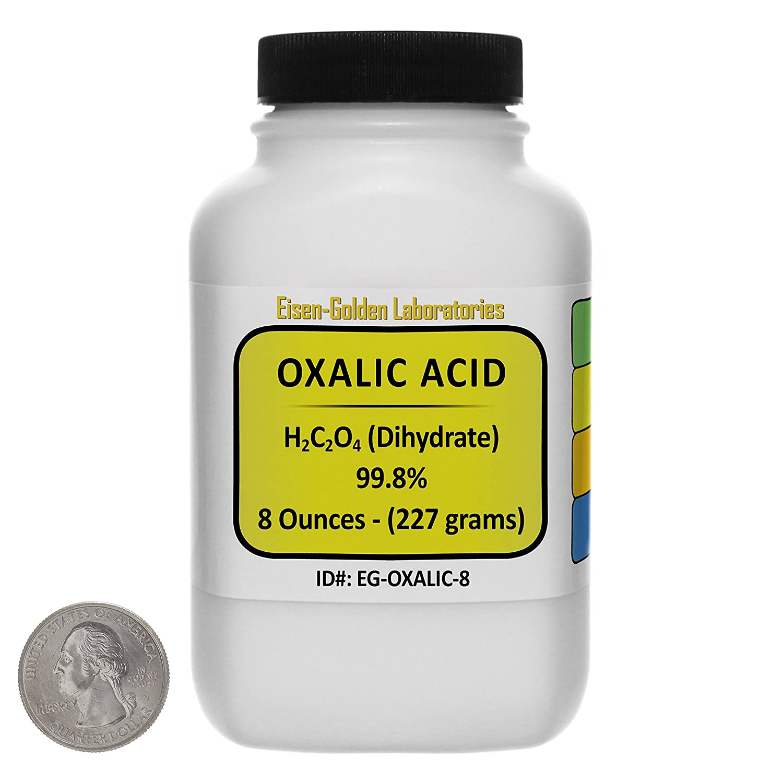 Oxalic Acid [C2H2O4] 99.8% ACS Grade Powder 8 Oz in a Space-Saver Bottle USA Eisen-Golden Laboratories EG-OXALIC-8/1