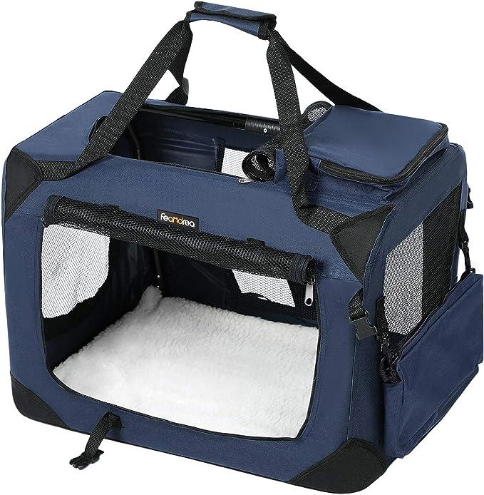 FEANDREA Bolsa de Transporte para Mascotas Transportín Plegable para Perro Portador Tela Oxford Azul Oscuro S 50 x 35 x 35 cm PDC50Z