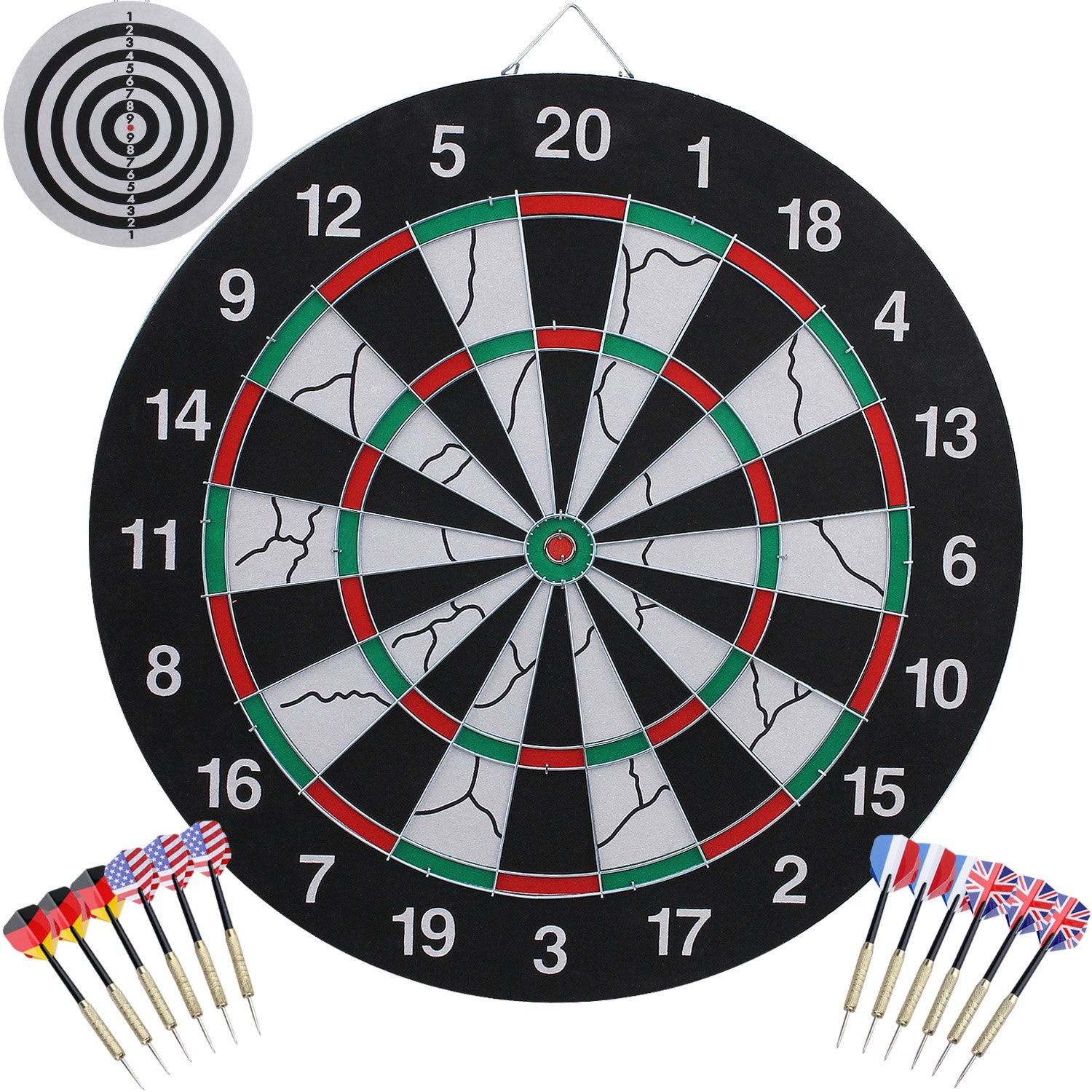 AUGYMER Dart Board, Double Sided Dart Boards with 12 Brass Darts 18 Inch Professional Game Dart Board Steel Tip Dartboard by AUGYMER