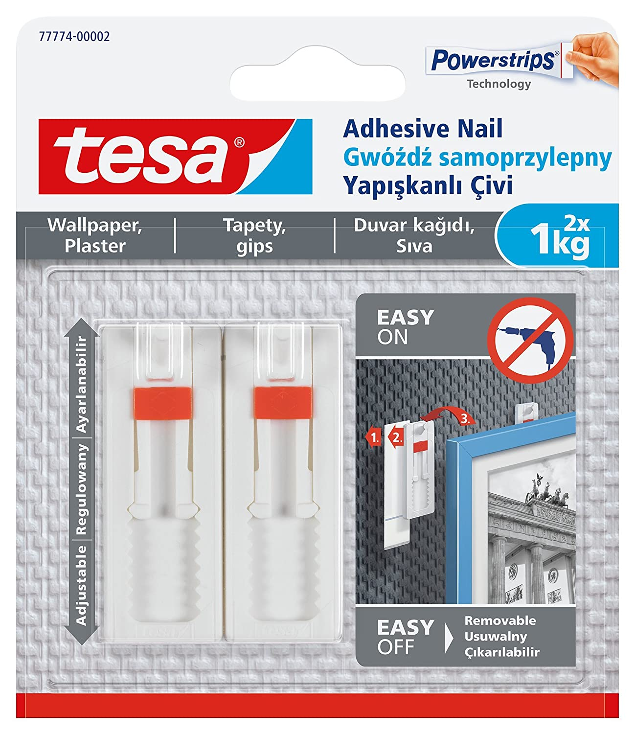 Tesa 77774  –   00002  –   00  extraí ble ajustable adhesivo uñ as para colgar fotos en papel pintado, color blanco tesa UK 77774-00002-00