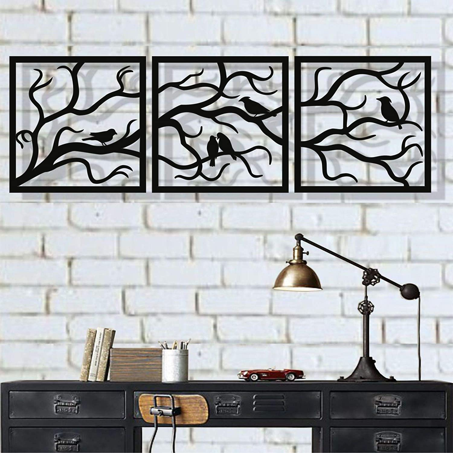 """Metal Wall Art, Birds on Branch 3 Pieces, Metal Tree Wall Art, Tree Sign, Metal Wall Decor, Interior and Outdoor Decoration, 3 Panels Wall Hangings (91""""W x 30""""H / 232x75cm)"""