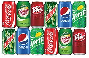 BGM Assortment of Soda, Coca-Cola, Pepsi, Dr Pepper, Mountain Dew, Sprite and Ginger Ale Refrigerator Restock Kit (Pack of 12)